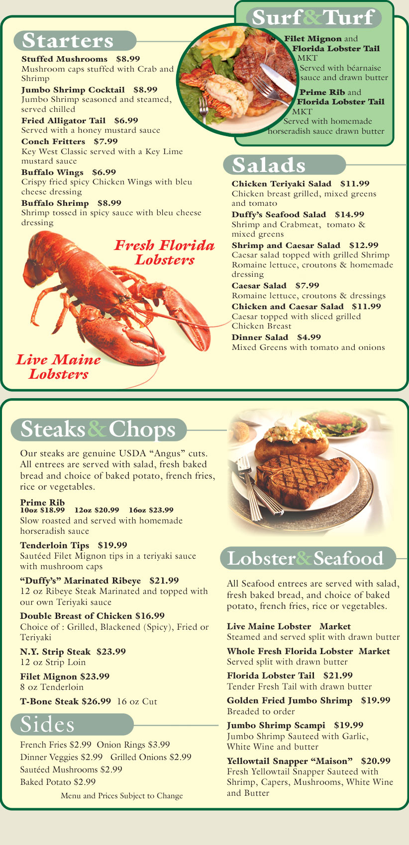 Duffy S Key West Steak Lobster House Dinner Menu
